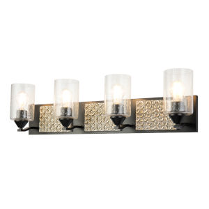 Arcadia Matte Black Light Bronze Four-Light Bath Vanity