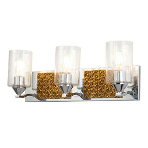 Arcadia Polished Chrome Bronze Three-Light Bath Vanity