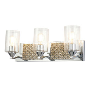 Arcadia Polished Chrome Light Bronze Three-Light Bath Vanity