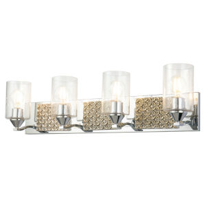 Arcadia Polished Chrome Light Bronze Four-Light Bath Vanity
