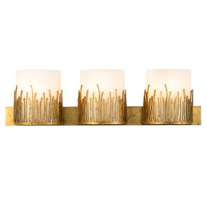 Sawgrass Gold Leaf with Antique Three-Light Bath Vanity
