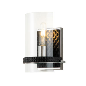 Mazant Polished Chrome Black One-Light Wall Sconce