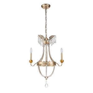 Louis Distressed Silver and Gold Three-Light Chandelier