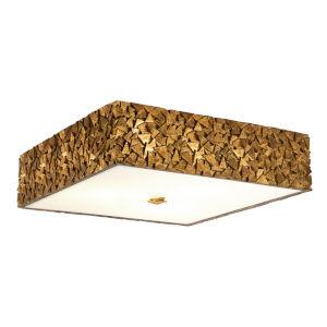 Mosaic Gold Leaf with Antique Three-Light Square Flush Mount