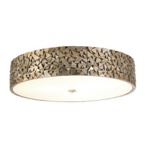 Mosaic Silver Leaf with Antique Four-Light Flush Mount