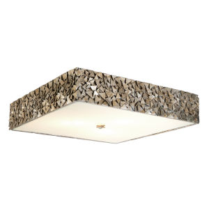 Mosaic Silver Leaf with Antique Three-Light Square Flush Mount