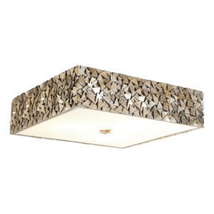 Mosaic Silver Leaf with Antique Four-Light Square Flush Mount