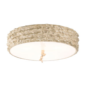 Trellis Hand-Painted with Putty Patina and Silver Leaf Orb Three-Light Flush Mount