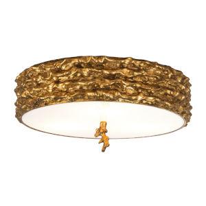 Trellis Gold Leaf with Antique Three-Light Flush Mount