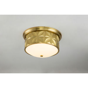 Epsilon Antique Brass Three-Light Flush Mount
