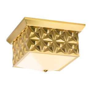 Alpha Antique Brass Four-Light Flush Mount