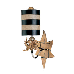 Audubon II One-Light Black and Gold Wall Sconce