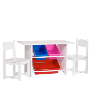 Childrens White Table with Two Chairs and Three Plastic Storage Bins