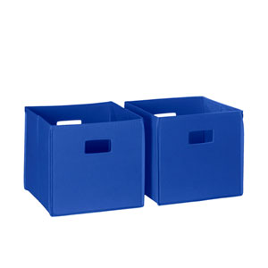 Blue Two Piece Folding Storage Bins Set with Open Handles