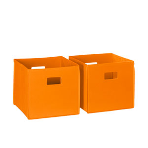 Orange Two Piece Folding Storage Bins Set with Open Handles