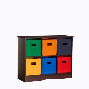 Espresso Six Bin Storage Cabinet