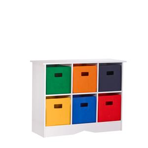White Cabinet w/ Six Bright Bins