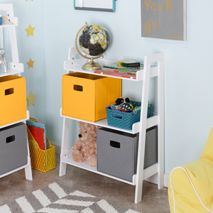 Kids White 3 Tier Ladder Shelf