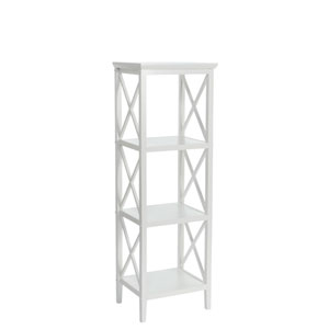 X-Frame White Bathroom Towel Tower