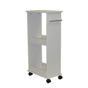 White Rolling Side Cabinet w/Shelves