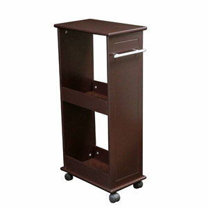 Espresso Rolling Side Cabinet w/Shelves