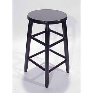 Black Round Top Backless Barstool 24-Inch