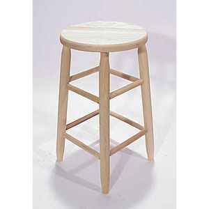 Uned Round Top Backless Barstool 24-Inch