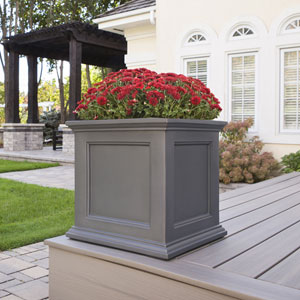 Fairfield Graphite Grey 20 L x 20 W Sqaure Planter