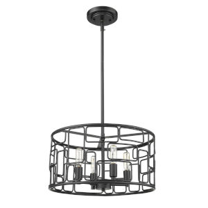 Amoret Matte Black Four-Light Convertible Pendant