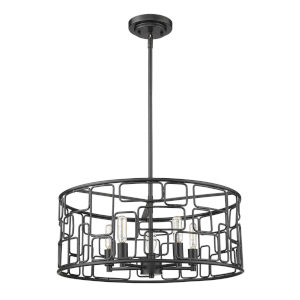 Amoret Matte Black Five-Light Convertible Pendant