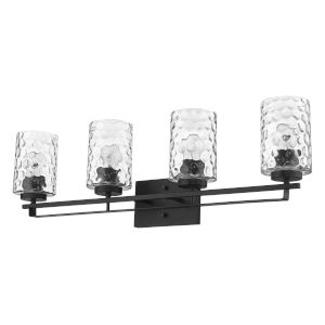 Livvy Matte Black Four-Light Bath Vanity
