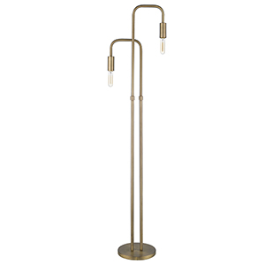 Perret Aged Brass Two-Light Floor Lamp