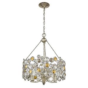 Vitozzi Antique Silver Leaf Three-Light Chandelier