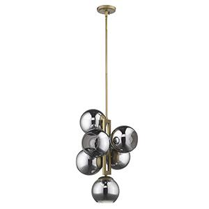 Lunette Aged Brass Six-Light Pendant