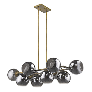 Lunette Aged Brass 10-Light Island Pendant
