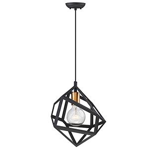 Hedron Matte Black One-Light Mini Pendant