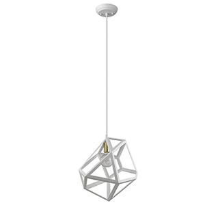Hedron White One-Light Pendant