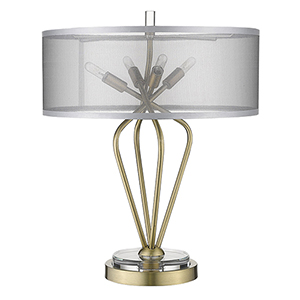 Perret Aged Brass Four-Light Table Lamp