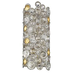 Vitozzi Antique Silver Leaf Two-Light Wall Sconce