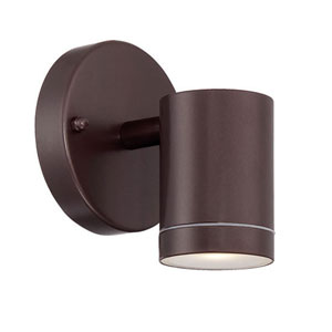 Architectural Bronze One-Light LED Outdoor Cylinder Wall Mount with Clear Glass
