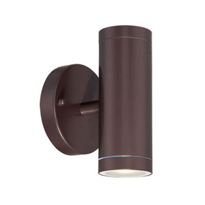 Architectural Bronze Two-Light LED Outdoor Wall Mount with Clear Glass