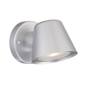 Brushed Silver 4.5-Inch One-Light LED Outdoor Wall Mount with Clear Glass