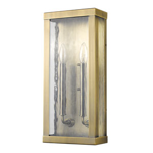 Charleston Antique Brass 8-Inch Two-Light Outdoor Wall Mount