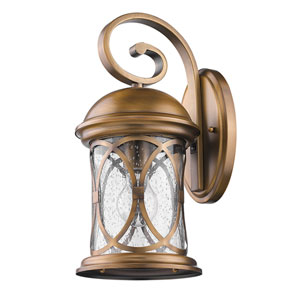 Lincoln Antique Brass 7-Inch One-Light Outdoor Wall Mount