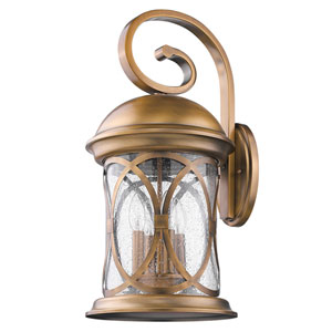 Lincoln Antique Brass 23-Inch Four-Light Outdoor Wall Mount