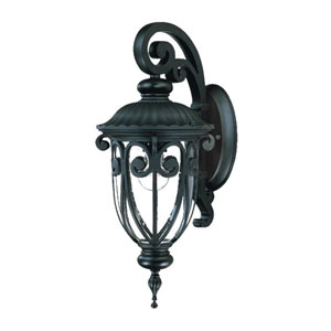 Naples Matte Black One-Light 18-Inch Outdoor Wall Mount