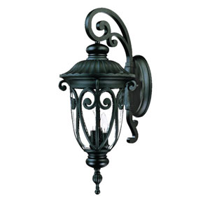 Naples Matte Black Three-Light 27.5-Inch Outdoor Wall Mount