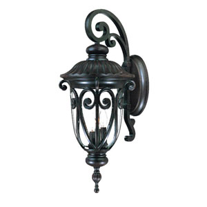 Naples Marbleized Mahogany Three-Light 27.5-Inch Outdoor Wall Mount