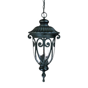 Naples Matte Black Three-Light 24.5-Inch Outdoor Pendant