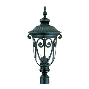 Naples Matte Black Three-Light 25.75-Inch Outdoor Post Mount